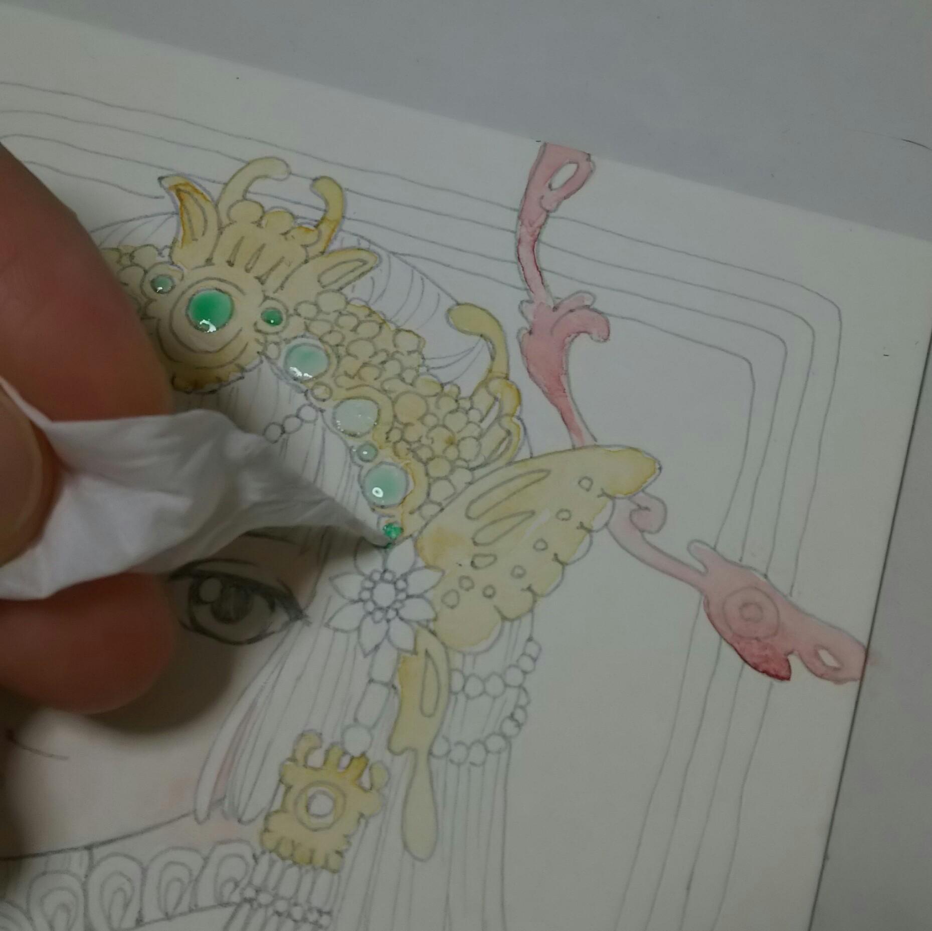 【翡翠金歩揺の娘】水彩色鉛筆イラストメイキング(2)*初めての水筆