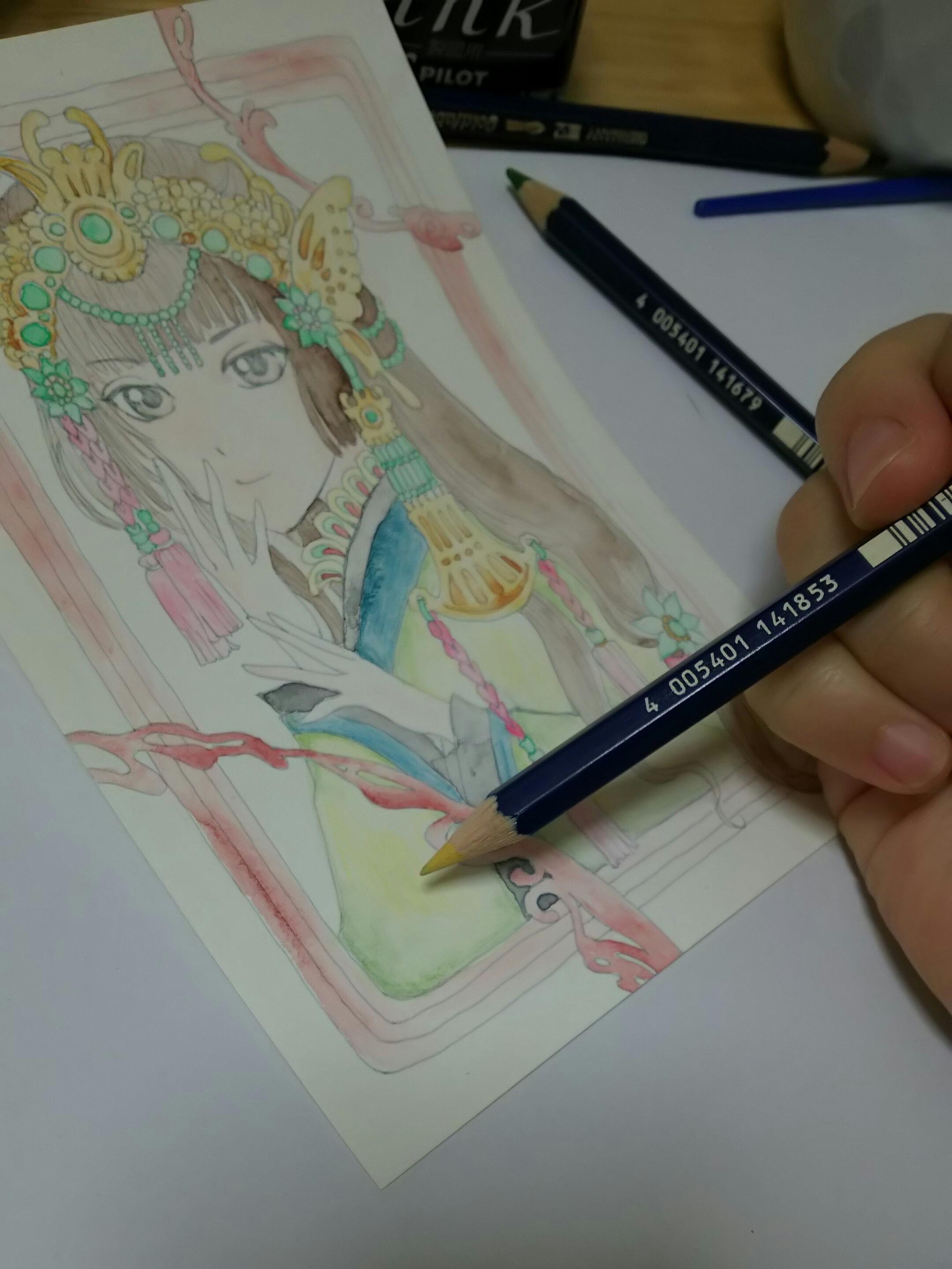 【翡翠金歩揺の娘】水彩色鉛筆イラストメイキング(3)