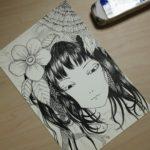 入園準備の息抜きにイラスト描き。水彩色鉛筆を使うかペン画のままでいくか迷ってます。