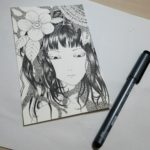 ペン入れ完成。白黒イラストでなくカラーイラストに決めました。