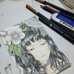 水彩色鉛筆着色メイキング【一日目】*色白日本女性(女の子)の肌・唇・花弁・葉のイラストの塗り方