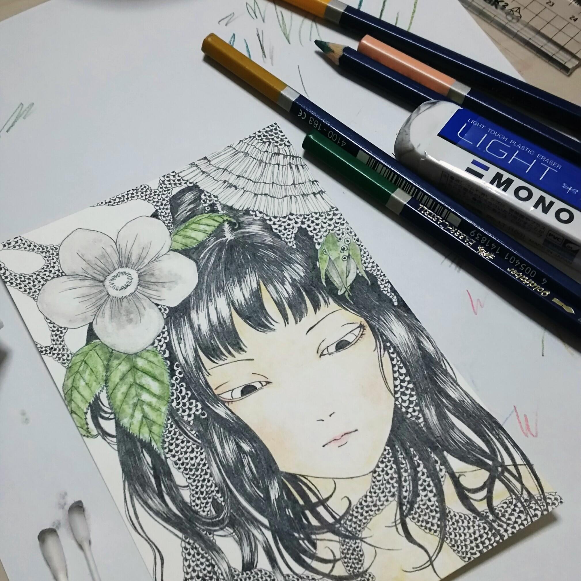 水彩色鉛筆着色メイキング 一日目 色白日本女性 女の子 の肌 唇 花弁 葉のイラストの塗り方