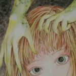 水彩色鉛筆メイキング*背景の塗りと髪の毛を描く訓練